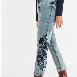 BDG Embroidered Mom Jean